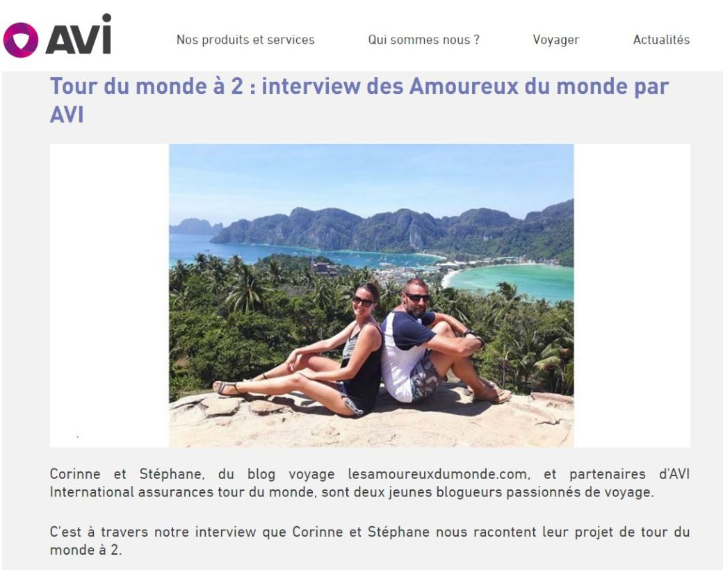 Interview les amoureux du monde sur le blog de AVI International - Juin 2017
