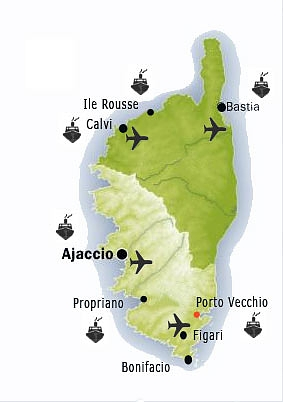 Carte des aéroports et ports en Corse