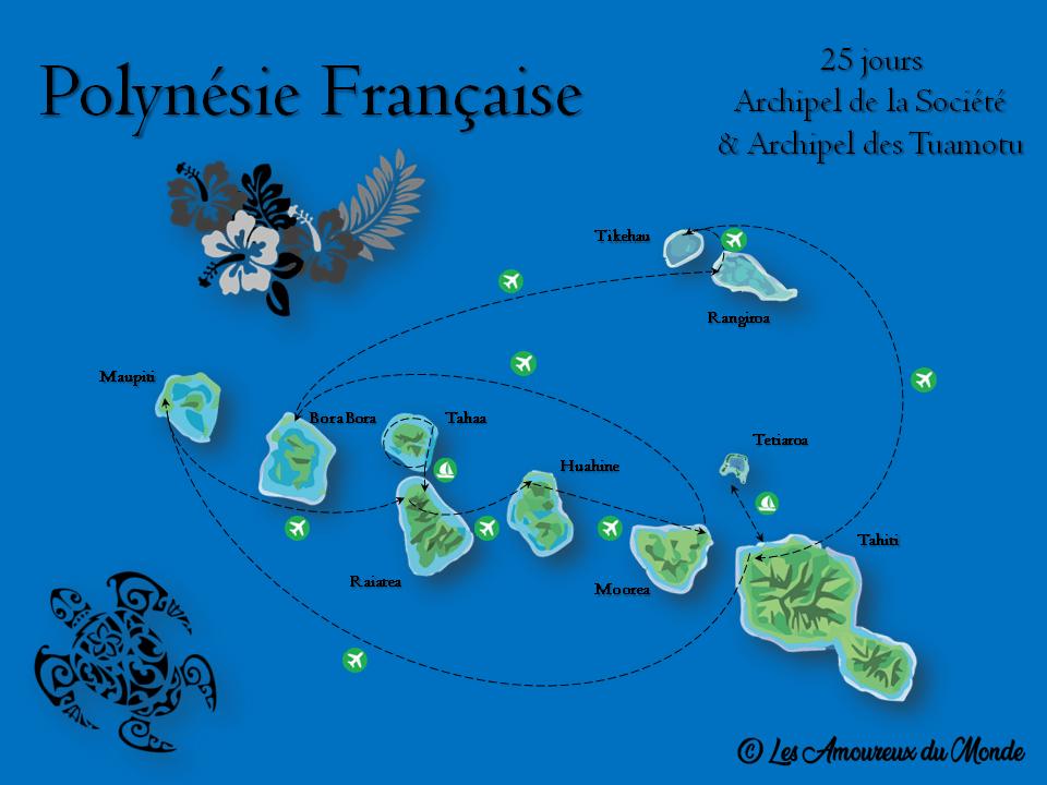 Itinéraire Polynésie Française pass Bora Bora Tuamotu