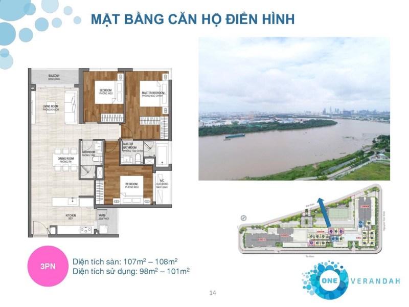 One verandah - Mặt bằng căn hộ điển hình (3PN)