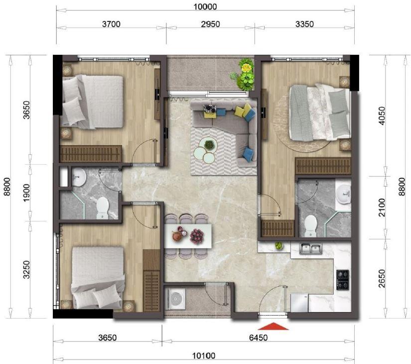 Thiết kế căn hộ Mizuki Park căn 3 PN 86 m2