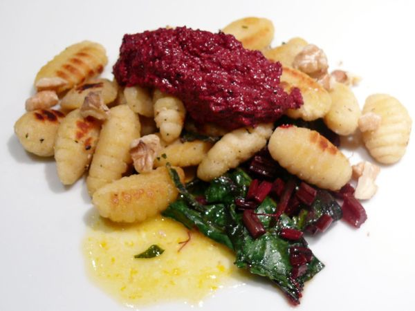 pan-fried gnocchi with beet pesto, in an orange butter sauce