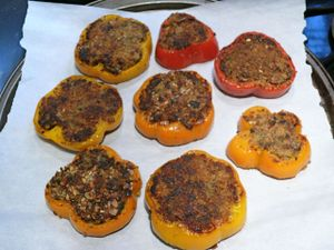 mom's mushroom-stuffed peppers