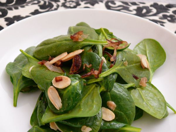 salad with sesame dressing and fried shallots