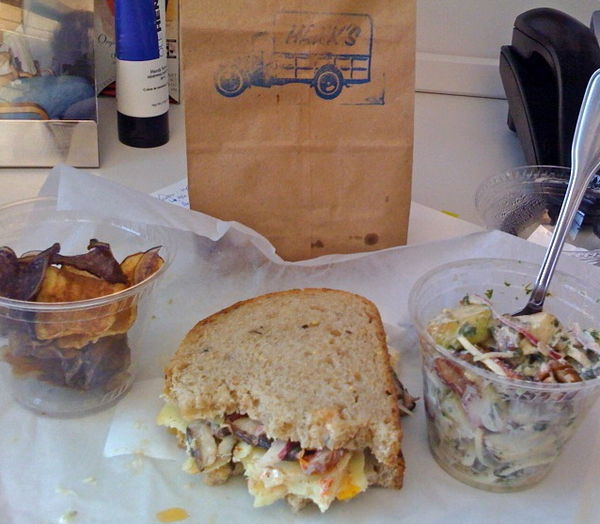 hank's mushroom sandwich and waldorf salad