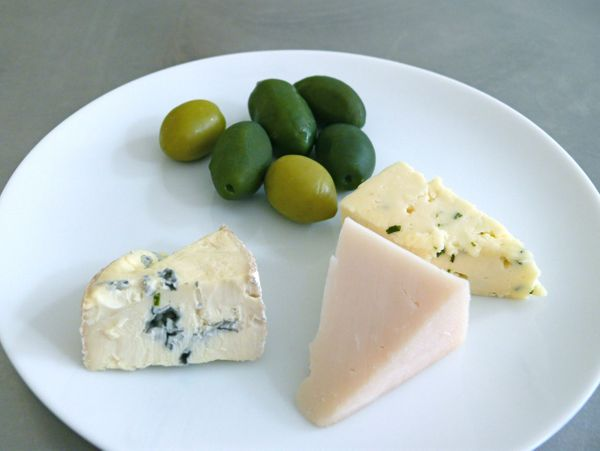 cerignova olives, goat gouda, blue and havarti