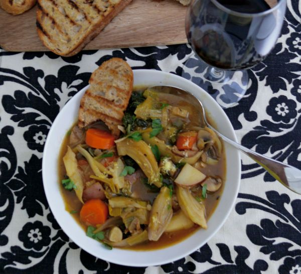 sweet and savoury vegetable stew with grilled bread