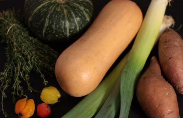 kabocha, thyme, scotch bonnets, squash, leeks, sweet potatoes