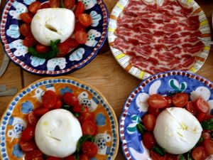 fior di latte with tomatoes, and capocollo