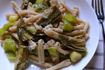 artichoke and leek pasta