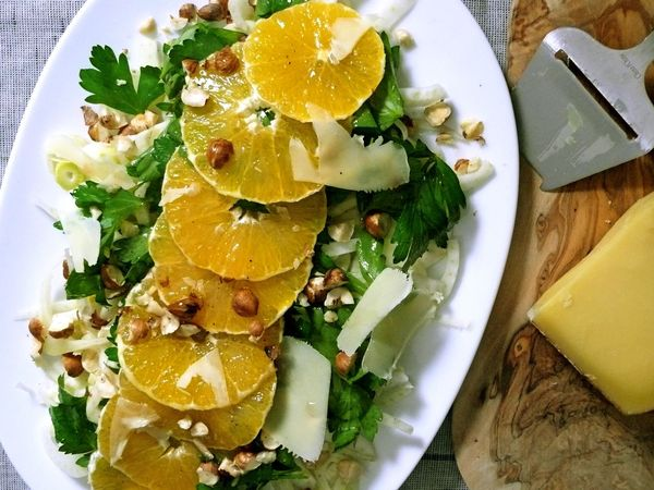 winter salad of fennel, orange and hazelnut