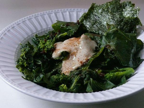 greens, soy sesame dressing and tahini