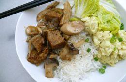 king mushrooms, tofu, napa and eggs inspired by mrs. kong