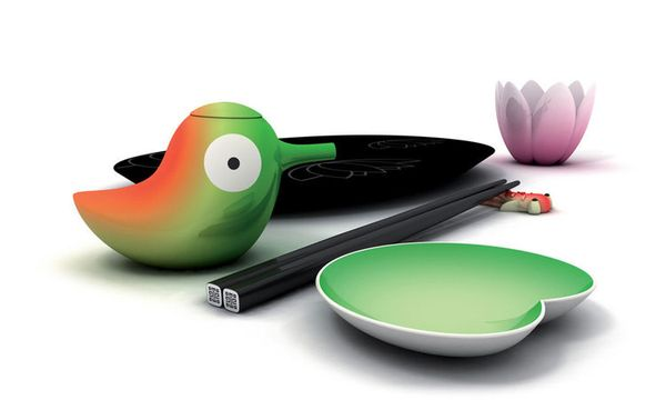 The Alessi Lily Bird Soy Container