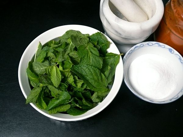 mint, salt and cayenne