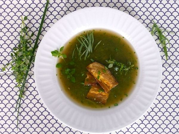 herb soup with eggplant bacon