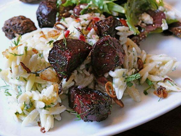 roasted beets, orzo, fried shallots