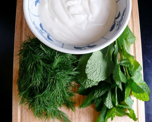 yogurt and herbs
