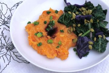 creamy sweet potato polenta with vegetables, tamari and pumpkin seeds