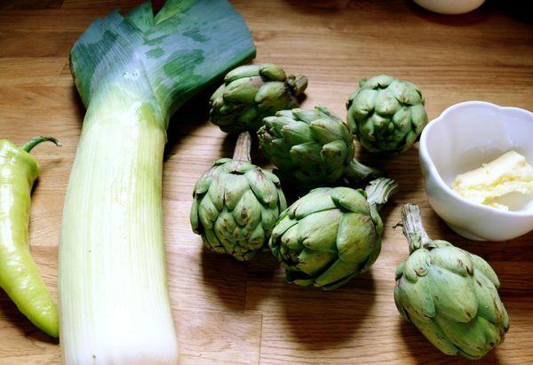 fresh leek and artichoke, banana pepper and butter