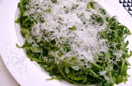 wild arugula salad with parmesan snow