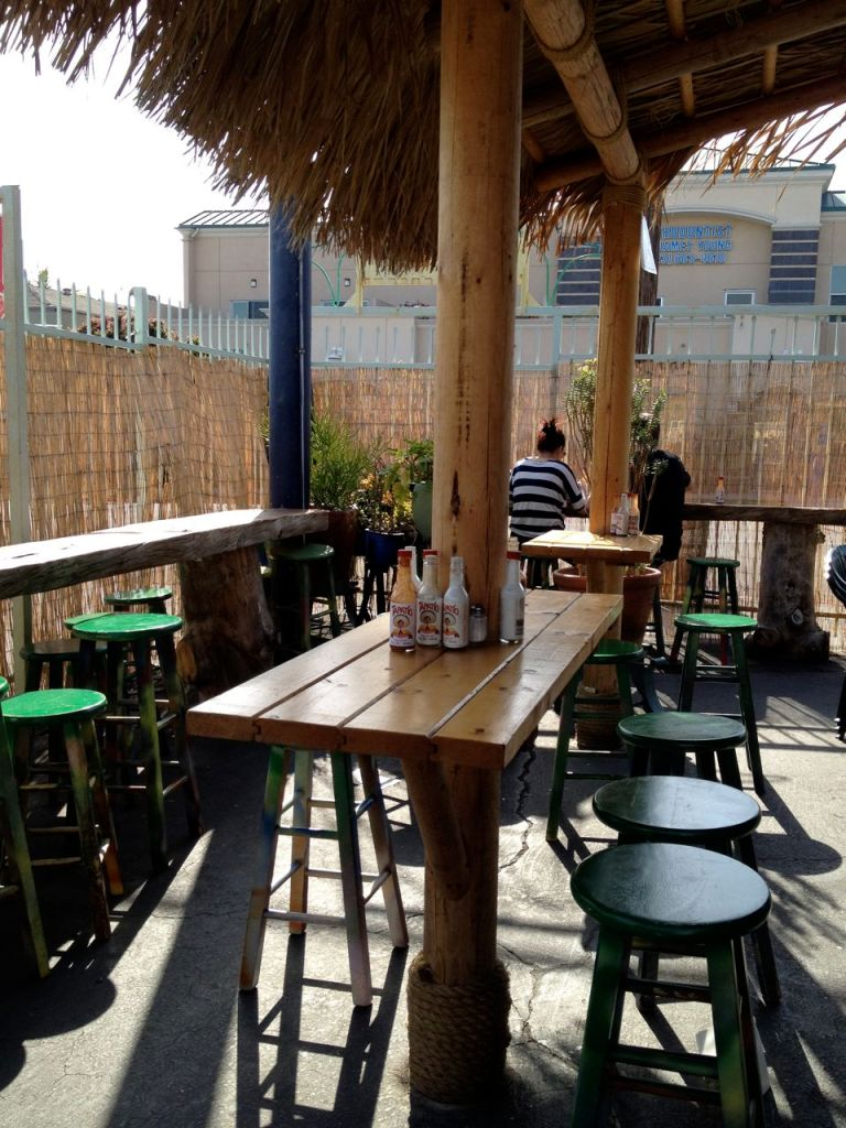 the outer seating area at best fish tacos in ensenada