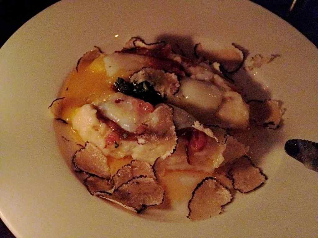 lazy ox's truffles, egg on french fry mash