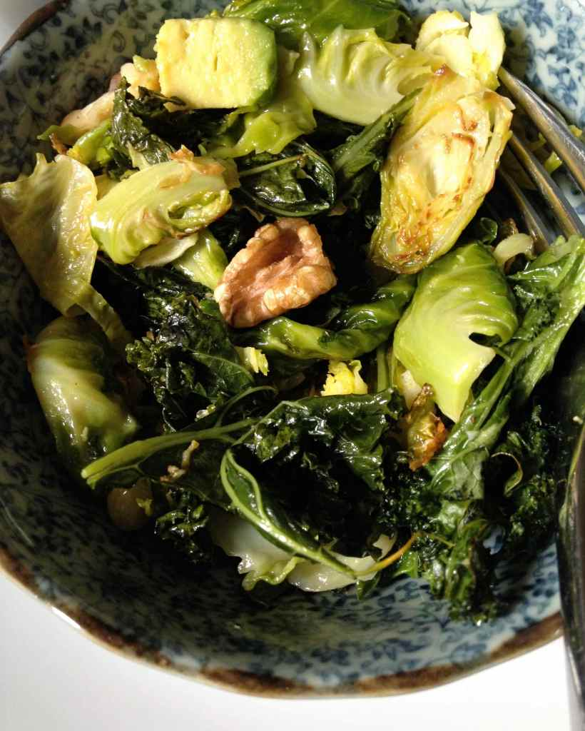 brussels sprouts, kale, avocado and walnuts