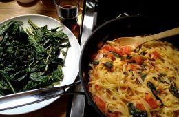 sauteed greens and summer tomato pasta