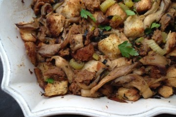 oyster mushroom, sausage and herb stuffing