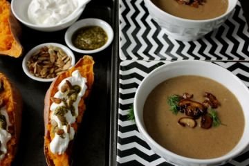 stuffed sweet potatoes and mushroom soup