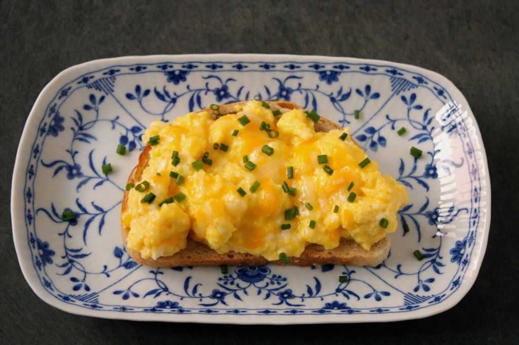 cheesy chive scrambled egg toast