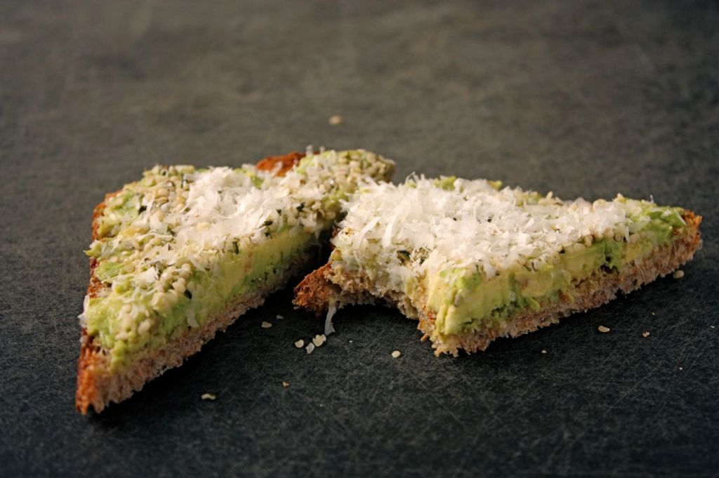 avocado, hemp hearts and parm toasts