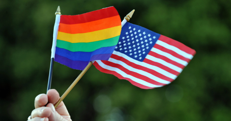 LGBT surveys - American and LGBT flag