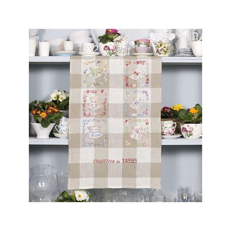 Linen  Tea Cup Collection  Tea towel  Les Brodeuses Parisiennes