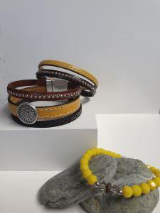 Bracelet perles de verre et Bracelet cuir Manchette Aimanté femme