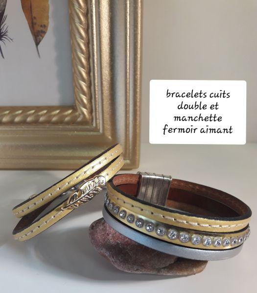 Bracelet machette cuir italien fermoir aimanté femme