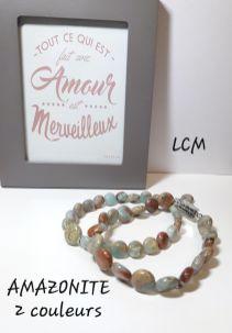 Bracelets Pierres Amazonite 2 couleurs homme et femme