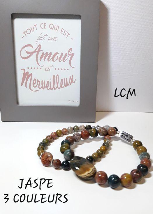 Bracelets Jaspe trois couleurs homme et femme