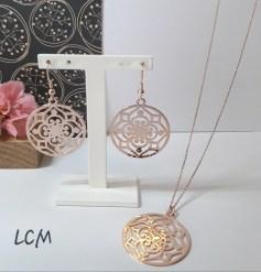 Collection couleur or rose boucles d'oreilles et collier