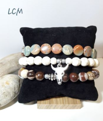 Bracelets mixtes en pierre véritables Amazonite Howlite et Jaspe