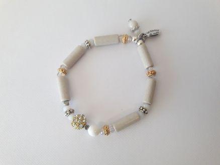 Bracelet écru perles tube