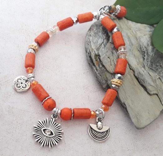 Bracelet œil orange céramique grecque