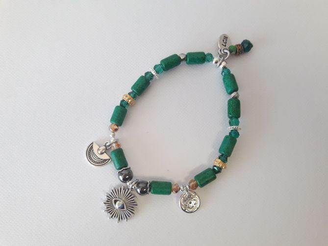 Bracelet œil émeraude céramique grecque