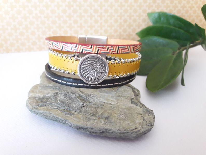 Bracelet manchette cuir Indien