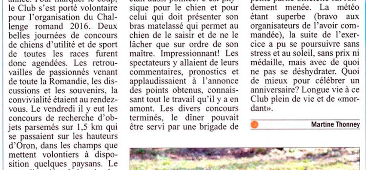 Article « Le Courrier » sur le Challenge Romand 2016