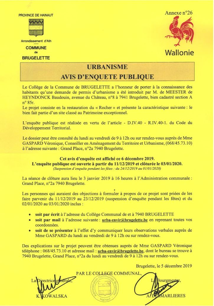 Rocher d'Attre - Avis d'enquête - fin 03-01-2020