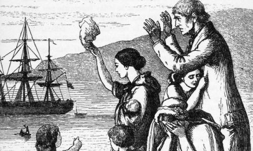Emigrants quittant l'Irlande pour les USA