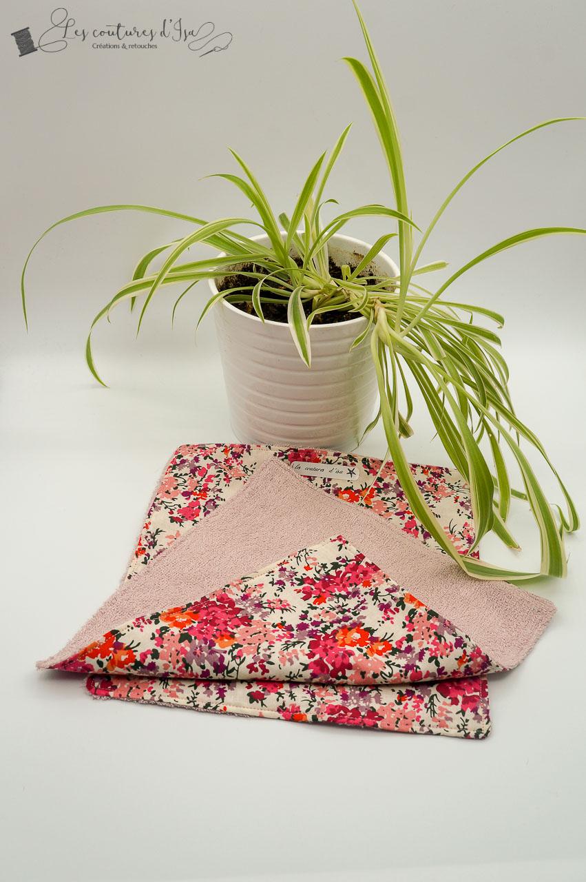 essuie-tout lavable rose à fleurs 2