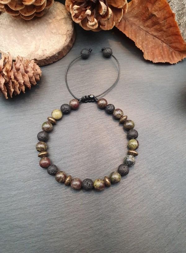 Bracelet jaspe dragon et pierre de lave